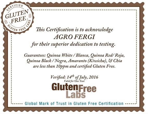 Gluten Free Certification - Agrofergi