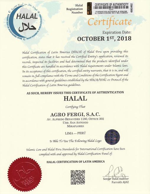 Halal Certification Agrofergi