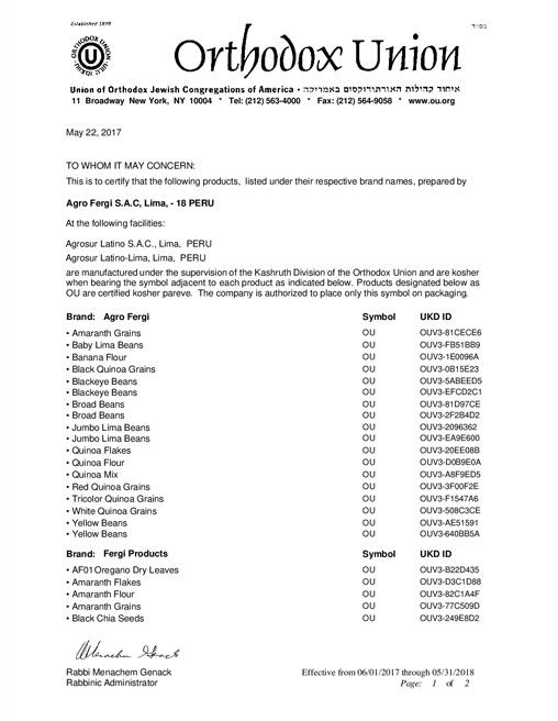 Kosher Certification Agrofergi